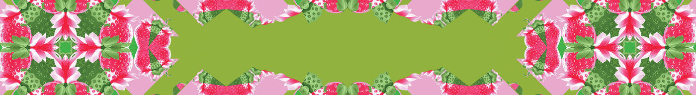 Green and pink strawberry background
