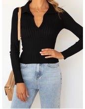 Load image into Gallery viewer, Ribbed Knit Top - Black