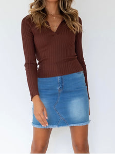 Ribbed Knit Top - Chocolate