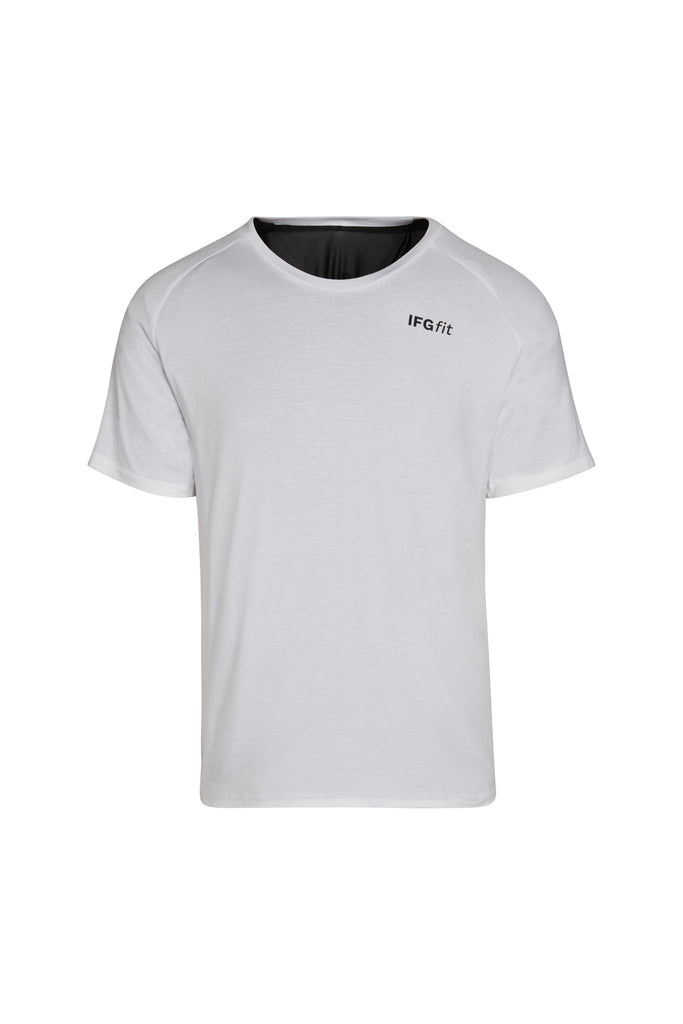 Jersey Crew White IFGfit PPR Technology for better posture, breathing, recovery. Reduce neck and back pain.