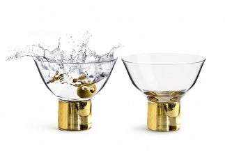 Gold Cocktail and Dessert Glasses Set of 2