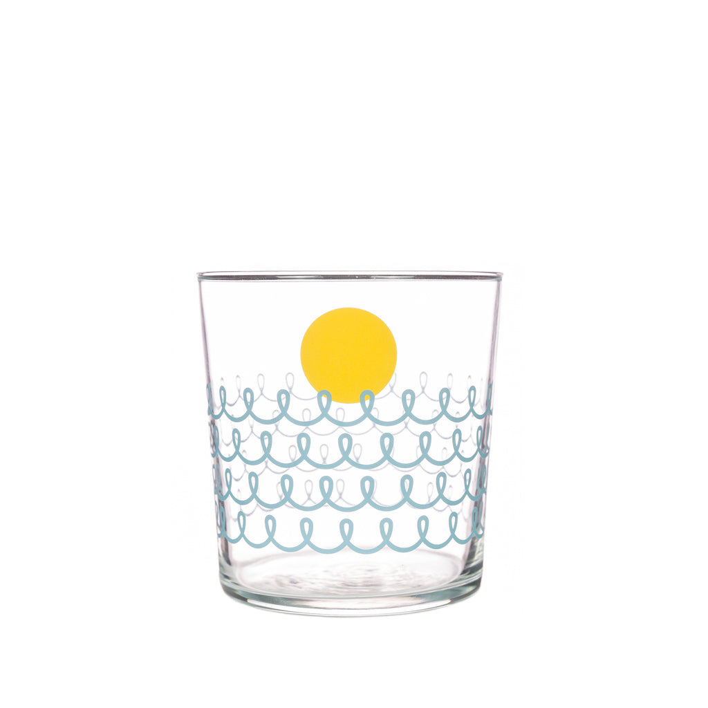 Bert & Buoy Glass Tumbler Seafoam Stripes & Sun