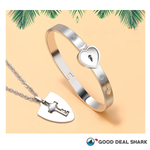 Lock&Key Couple Bracelet and Necklace Set