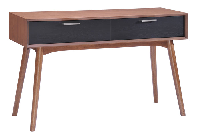 Liberty City Console Table Walnut & Blk - Dining,Living