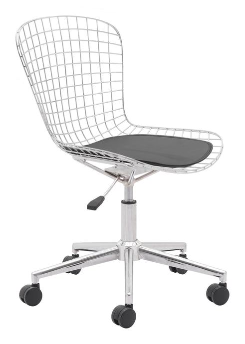 Wire Office Chair Chrome w/ White Cushion - Office