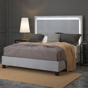 Lumina 60 Queen Platform Bed with Light in Grey