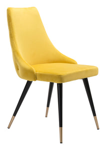 Piccolo Dining Chair Yellow Velvet - Dining