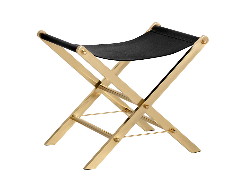 RYDER STOOL - BRASS - BLACK SHAGREEN PRINT - Benches