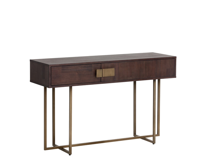 JADE CONSOLE TABLE - ANTIQUE BRASS - DARK MANGO - Console