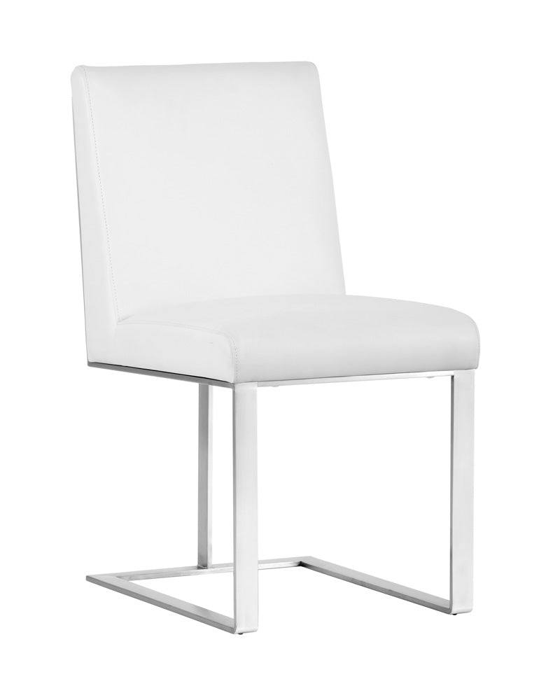 DEAN DINING CHAIR - STAINLESS STEEL - NOBILITY WHITE -