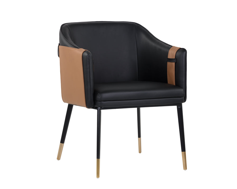 CARTER ARMCHAIR - NAPA BLACK / NAPA COGNAC - Dining Chairs