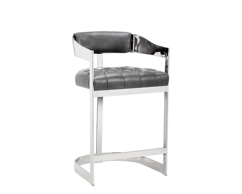BEAUMONT COUNTER STOOL - STAINLESS STEEL - NOBILITY GREY -