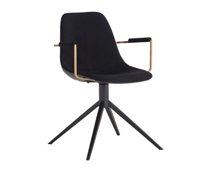 Cassius Swivel Dining Armchair - Abbington Black / Bravo