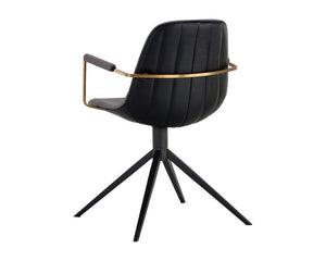 Cassius Swivel Armchair - Slate Tint / Nightfall Black