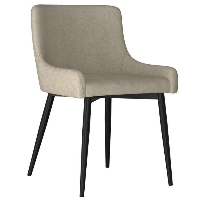 Bianca Side Chair, set of 2 in Beige with Black Leg Price shown for each - Min Order  2PK