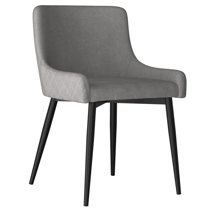 Bianca Side Chair, set of 2 in Grey with Black Leg Price shown for each - Min Order  2PK