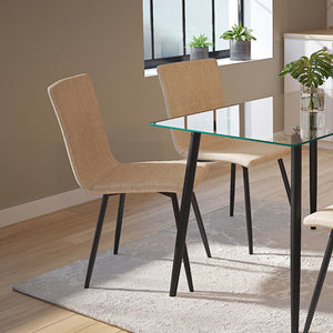 Nora Side Chair set of 4 in Beige with Black Leg Price shown