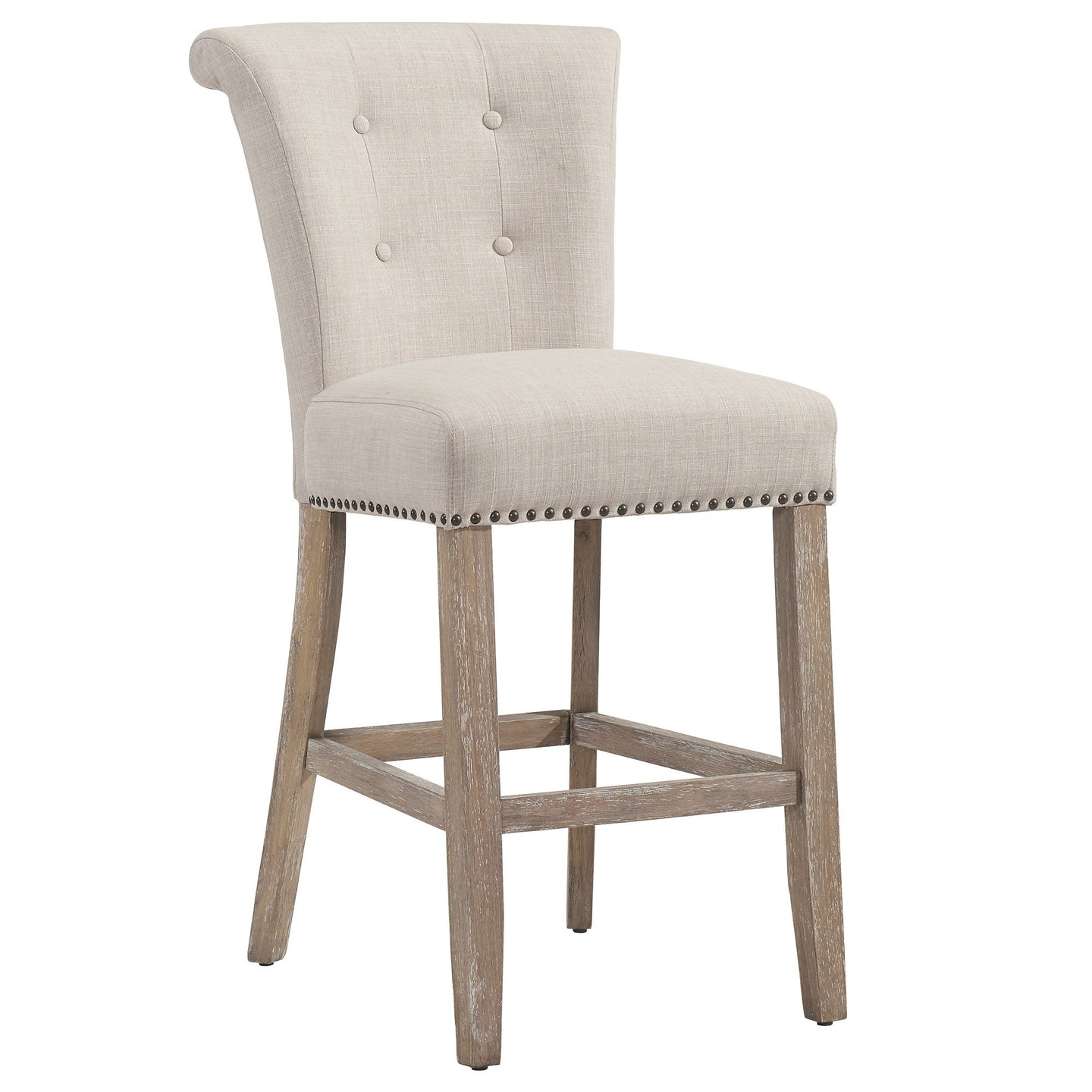 SELMA-26 COUNTER STOOL-BEIGE/OAK LEG Price shown for each -