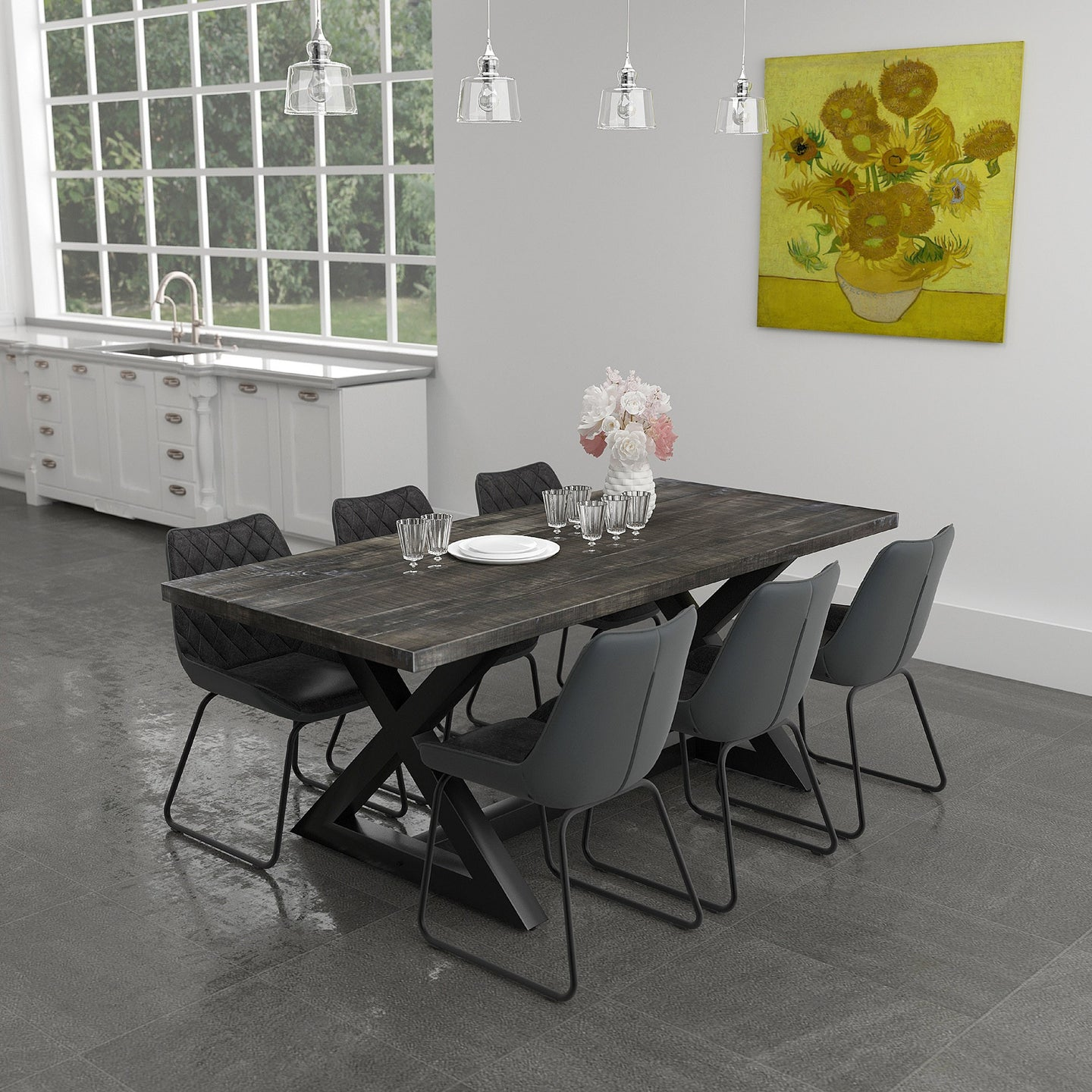 Zax/Calvin 7pc Dining Set Black/Vintage Charcoal