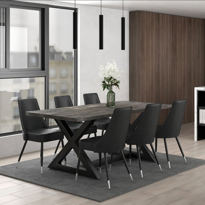 Zax/Silvano 7pc Dining Set Black/Grey