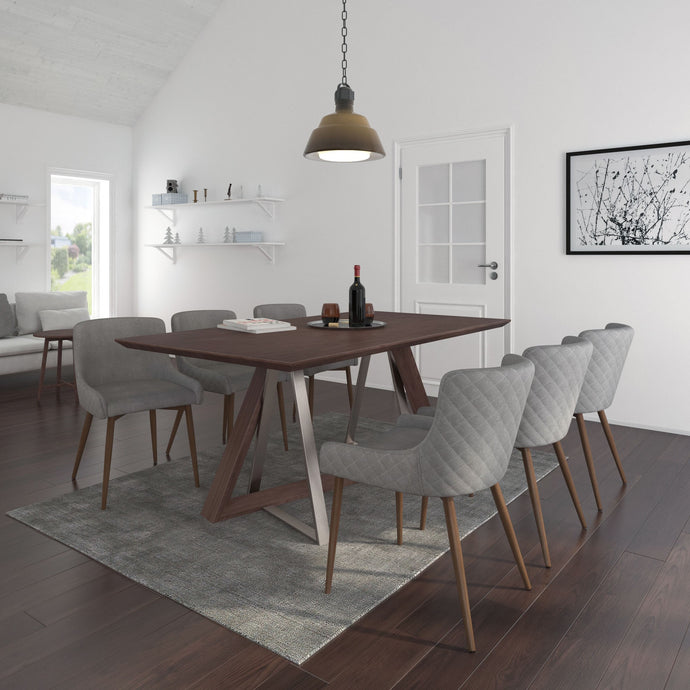 Drake/Bianca 7pc Dining Set Walnut/Walnut & Grey