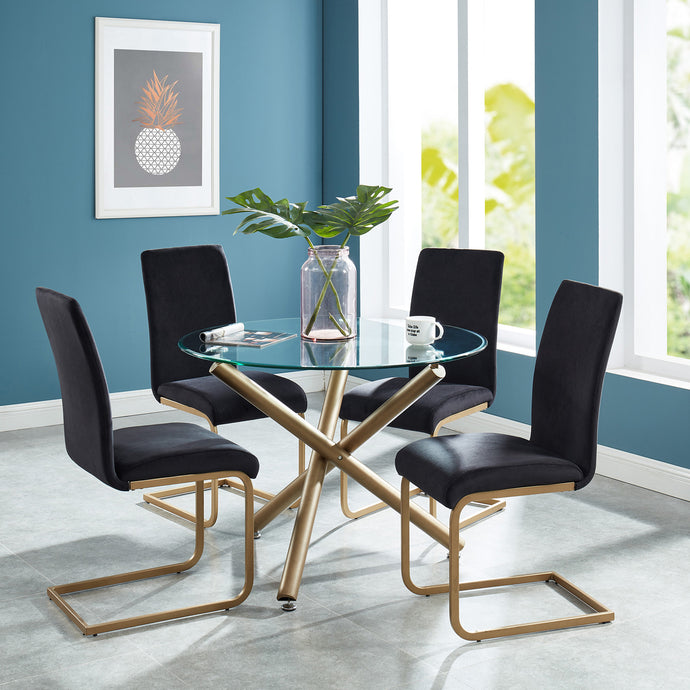 Carmilla/Savion 5pc Dining Set Gold/Black