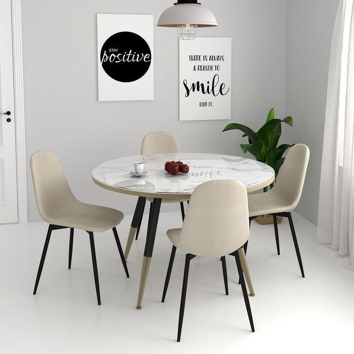 Cordelia/Olly 5pc Dining Set White/Beige