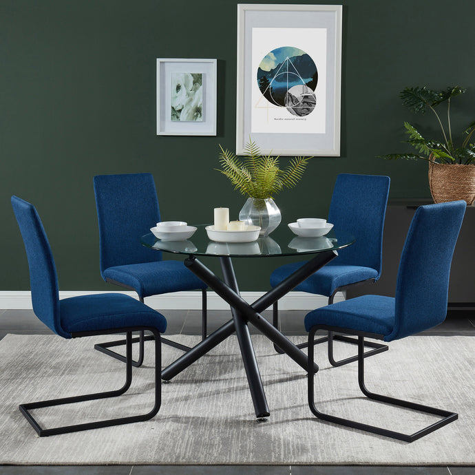 Suzette/Vespa 5pc Dining Set Black/Blue