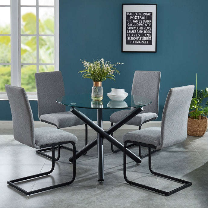 Suzette/Vespa 5pc Dining Set Black/Light Grey