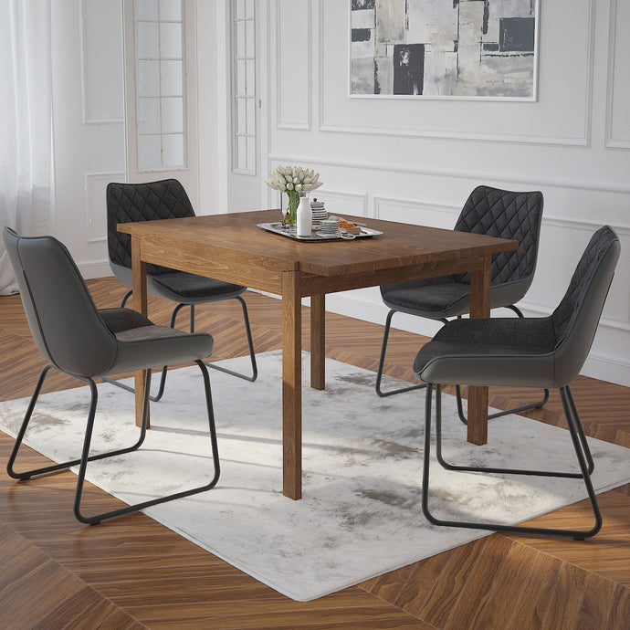 Benito/Calvin 5pc Dining Set Walnut/Vintage Charcoal