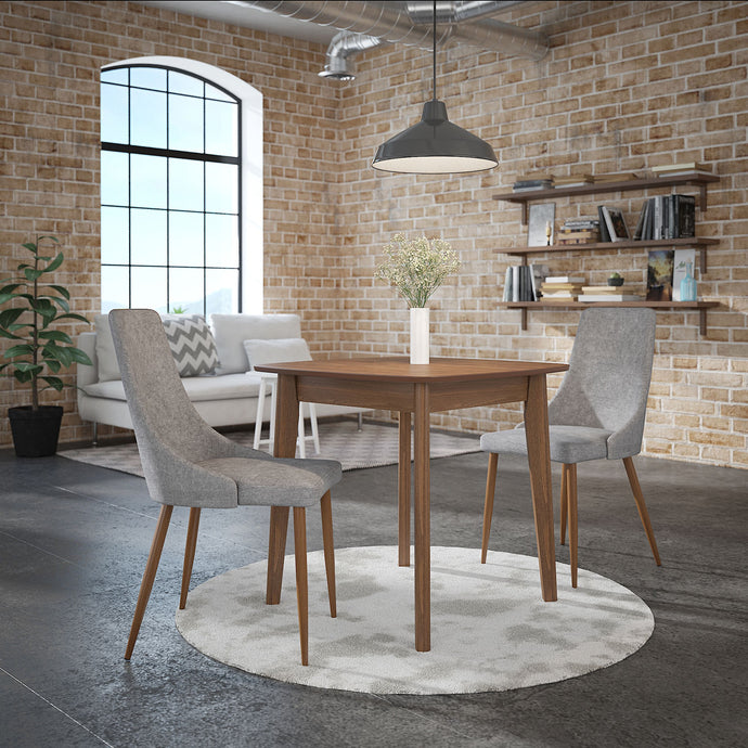 Alder/Cora 3pc Dining Set Walnut/Grey