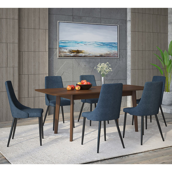 Alero/Venice 7pc Dining Set Walnut/Blue