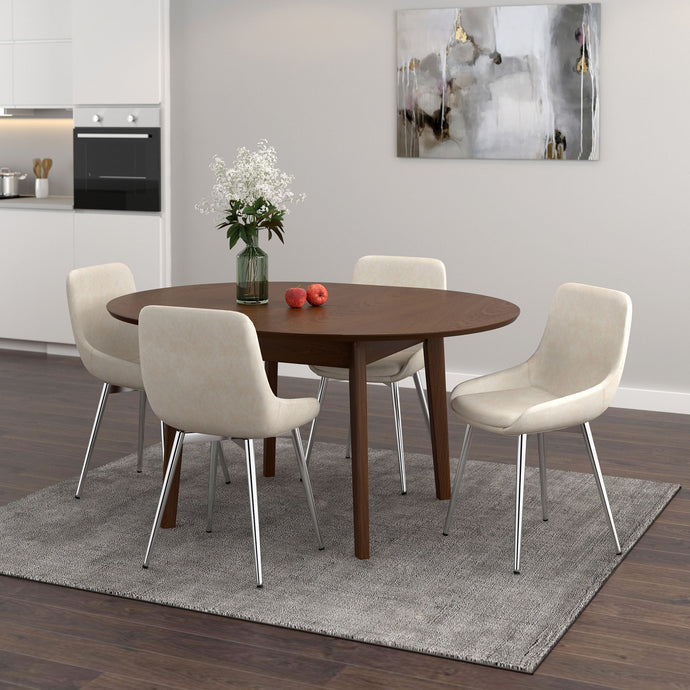 Alero/Cassidy 5pc Dining Set Walnut/Ivory