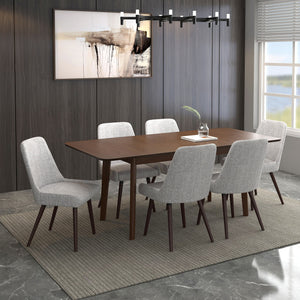 Alero/Mia 7pc Dining Set Walnut/Walnut & Lt Grey