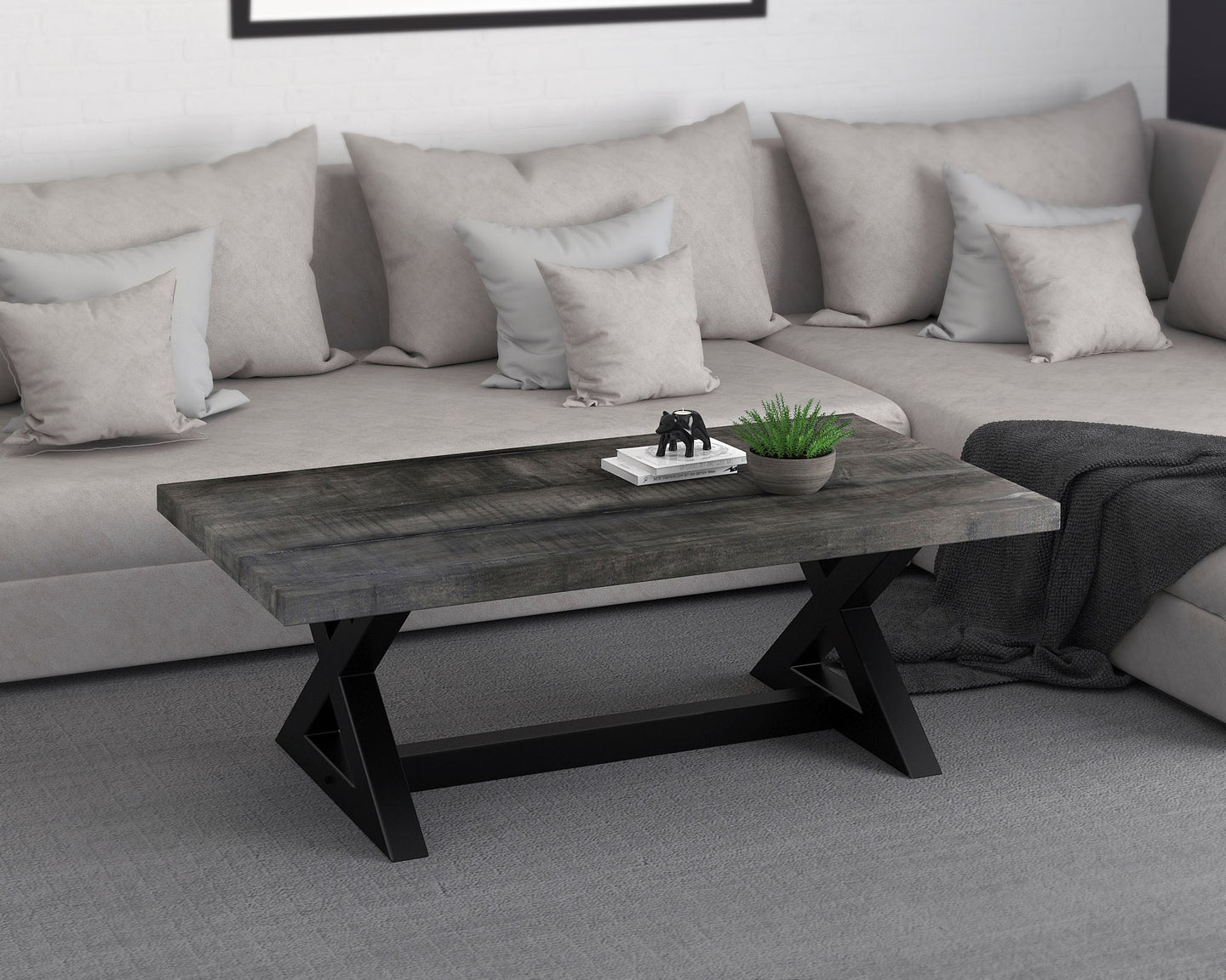 ZAX-COFFEE TABLE-DISTRESSED GREY - ACCENT FURNITURE