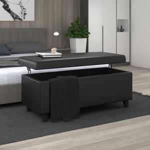 Wyatt Lift-Top Cocktail Ottoman in Black