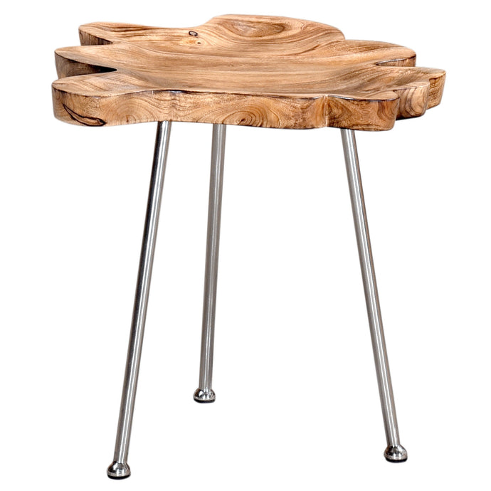 PARI-ACCENT TABLE-NATURAL/CHROME LEG - ACCENT FURNITURE