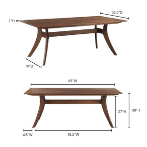 FLORENCE RECTANGULAR DINING TABLE SMALL WALNUT