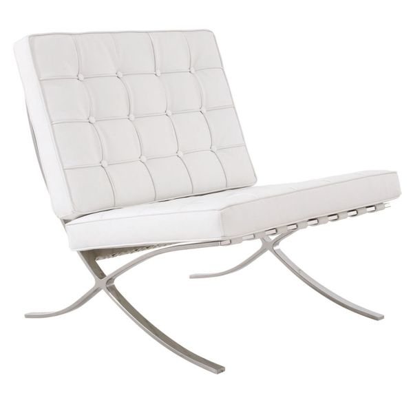 PAVILION Lounge White Bonded Leather Upholstery
