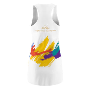 I Do Me2 White/colorful Women's Cut & Sew Racerback Dress
