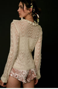 Cream Crochet Sweater