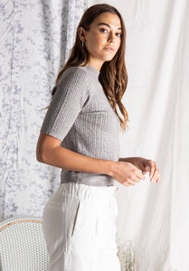 Scalloped Edge Sweater in Gray