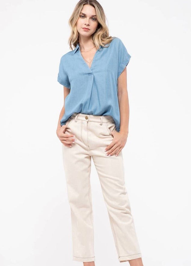 Collared Chambray Top