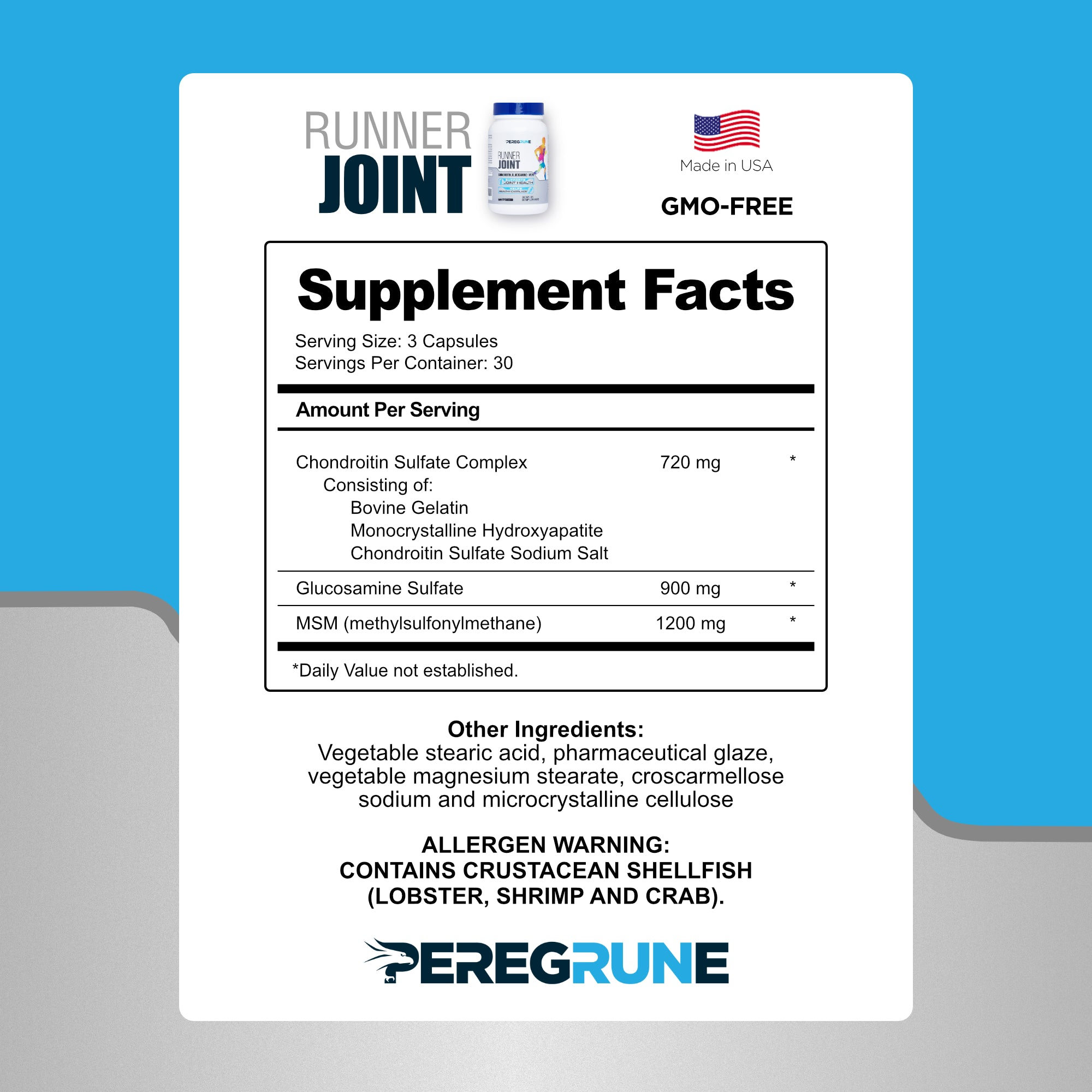 Runner Multivitamin, Joint Support, and Omega-3 Fish Oil (1-Month Supply)