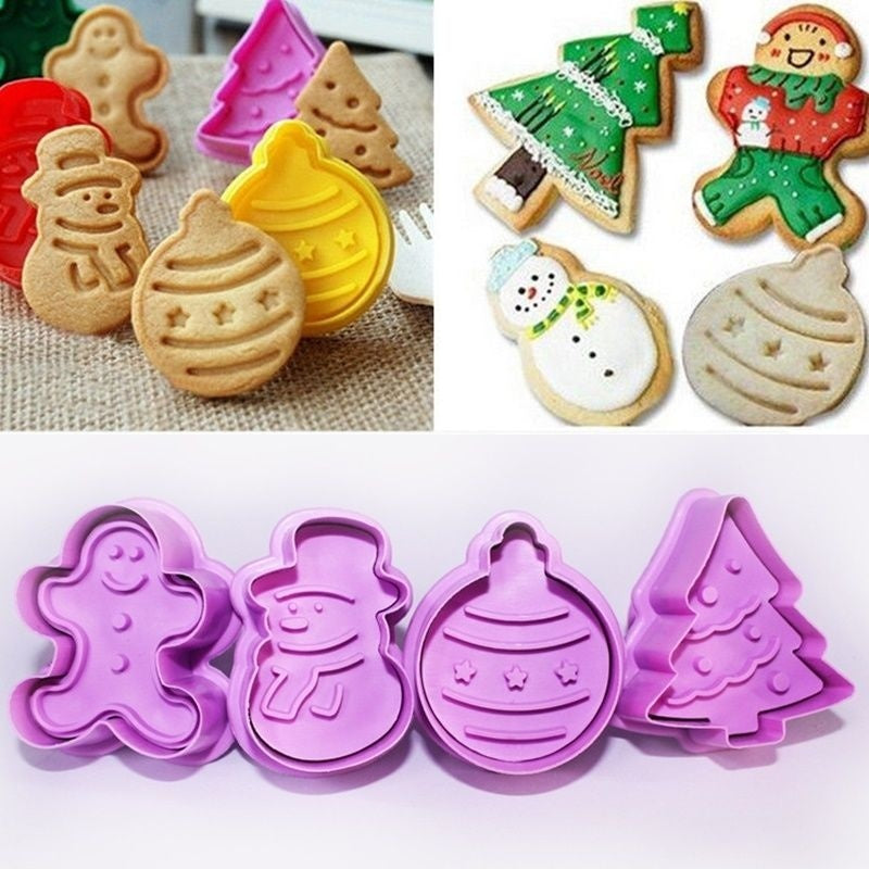 4Pcs/set Kitchen New Cookie Biscuit Fondant Mold Silicone Cookie Baking Cutter Mould for Christmas
