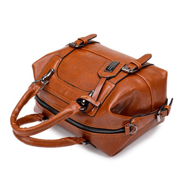 Multi-slots Retro PU Leather Boston Handbag Crossbody Bags