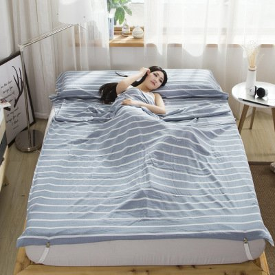Double Bed Sheet/Sleep Sack/Sleeping Bag for Camping Travel Plaid Pattern