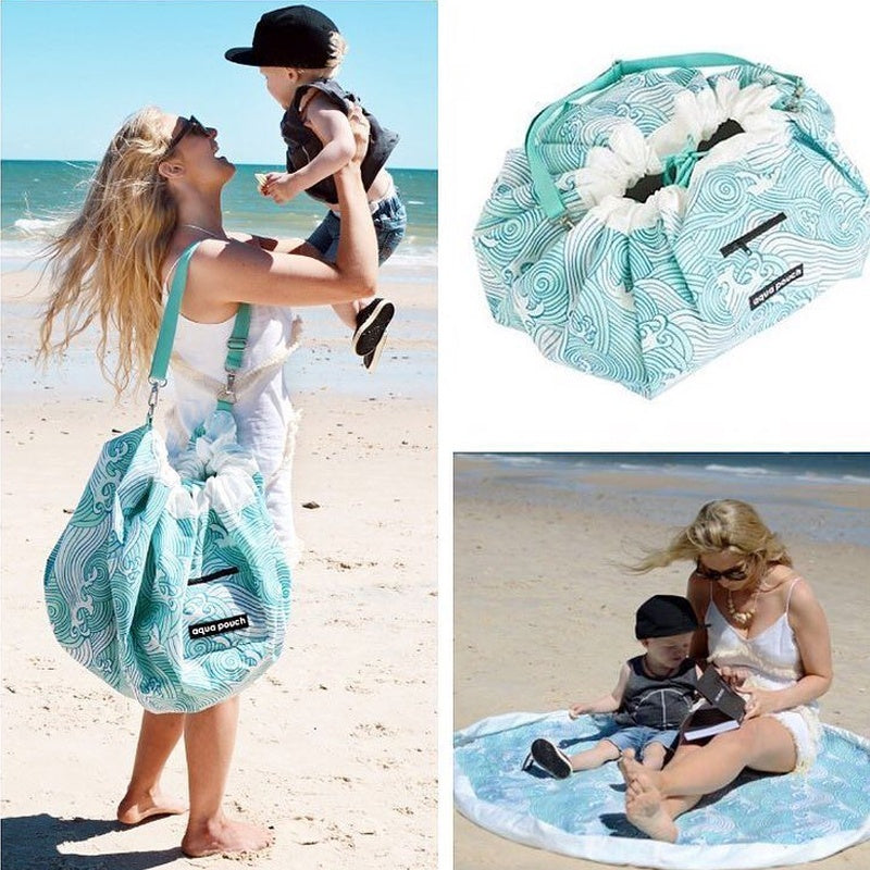 Waves Pattern Mommy Bag Baby Seaside Beach Playmats Outdoor Storage Bags Toy Storage Bag