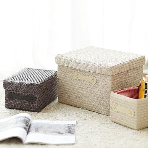Straw Plaited Tabletop Organizer Sundries Snacks Storage Basket