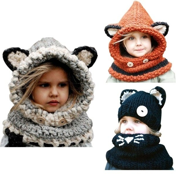Cute 1-7 Years Warm Baby Girls Hats Handmade Kids Winter Wind Protection Hats Wrap Fox Scarf Caps Cute Autumn Children Wool Knitted Hats